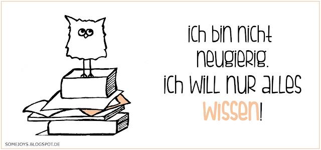 Eule mit Büchern und einem Spruch