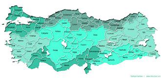 Turkuvaz rengi ve tonlarında boyanmış Türkiye İller ve Bölgeler Haritası
