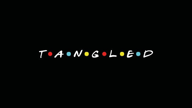 Image descripcion: the logo of Friends, except it says Tangled. End description
