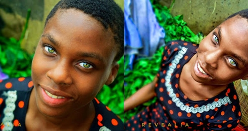 Nigerian Girl With Blue Green Hazel Eyes Colour Bashed By