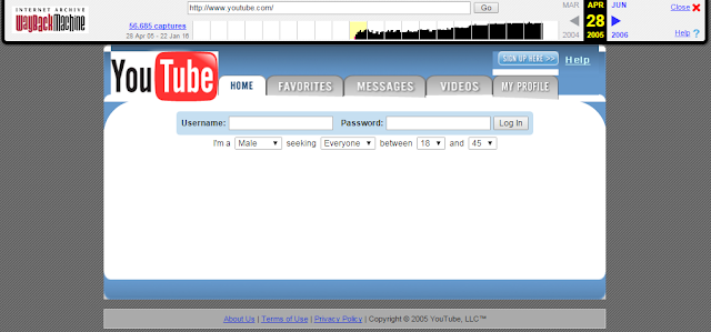 Wayback Machine 2005, Youtube awalnya situs kencan (dating site)
