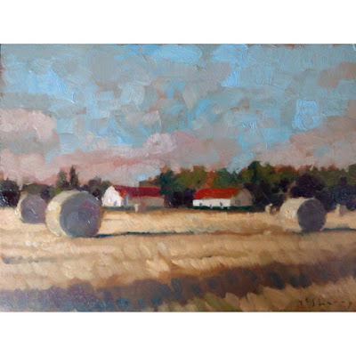 oils alla prima painting landscape field farm france
