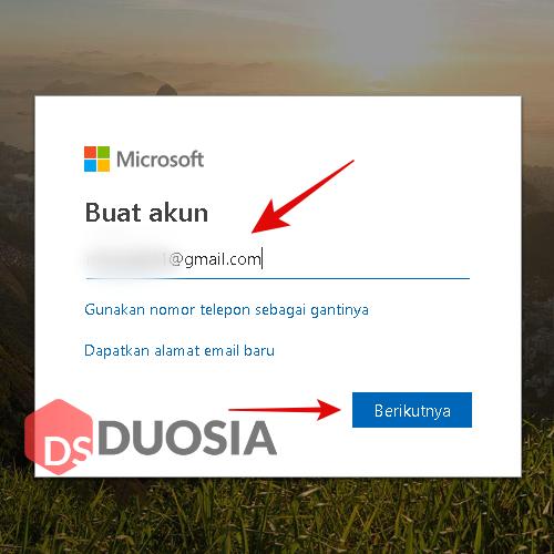 akun microsoft dari gmail