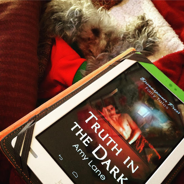 Murchie sprawls on his side with his front paws extended. He wears his red t-shirt. In front of him at an angle is a white Kobo with the cover of Truth in the Dark on its screen. A shirtless young white man lies on his side facing the viewer while a shadowy figure holds a glowing lantern above him.