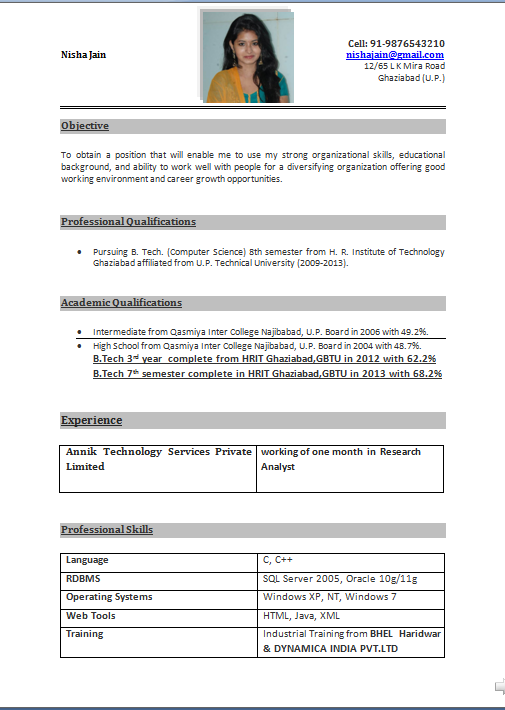 Cv Resume Resume Format Sample Format Of Biodata