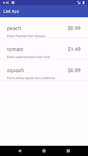 screenshot of virtual phone showing list of grocery items, prices, Android Studio