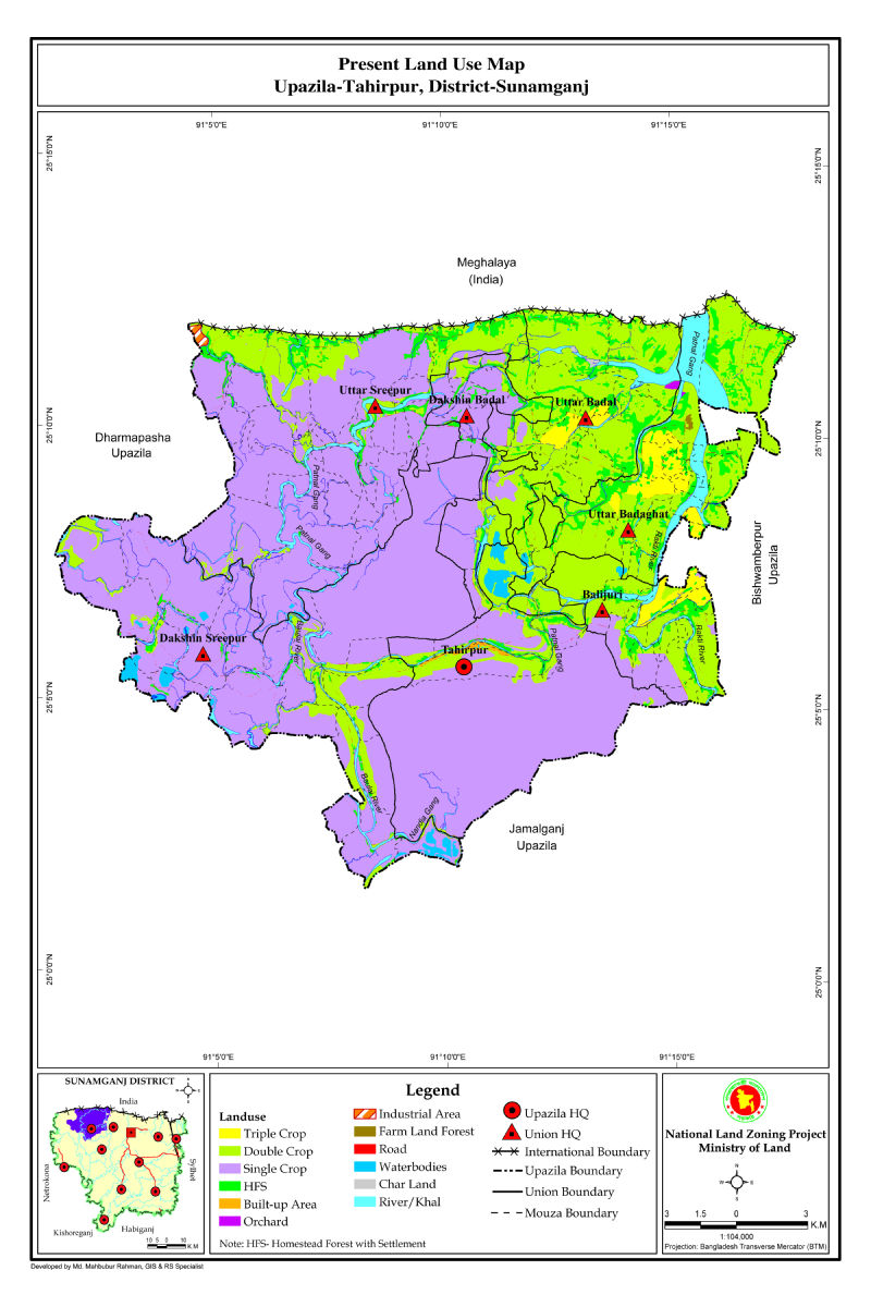 Tahirpur Upazila Mouza Map Sunamganj District Bangladesh