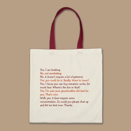 Knitting Conversation | Funny Womens Tote