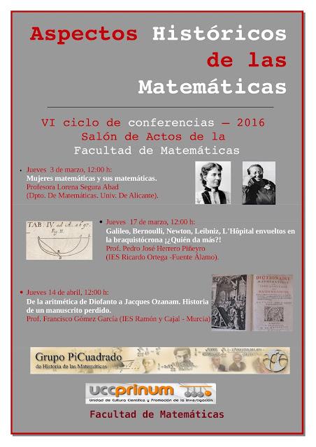 """VI ciclo de conferencias: """"Aspectos Históricos de las Matemáticas""""."""