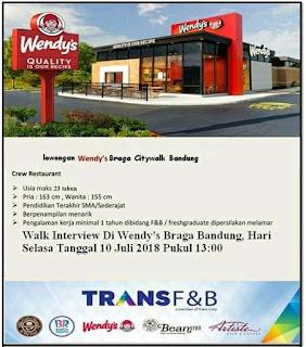 Karir Lowongan Kerja Wendy's Bandung 2019 Terbaru Untuk SMA SMK