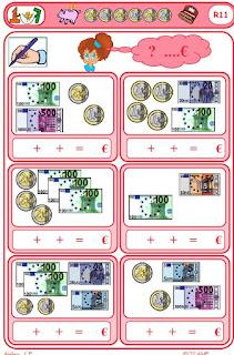 Jeu sur la monnaie à imprimer à 3 chiffres