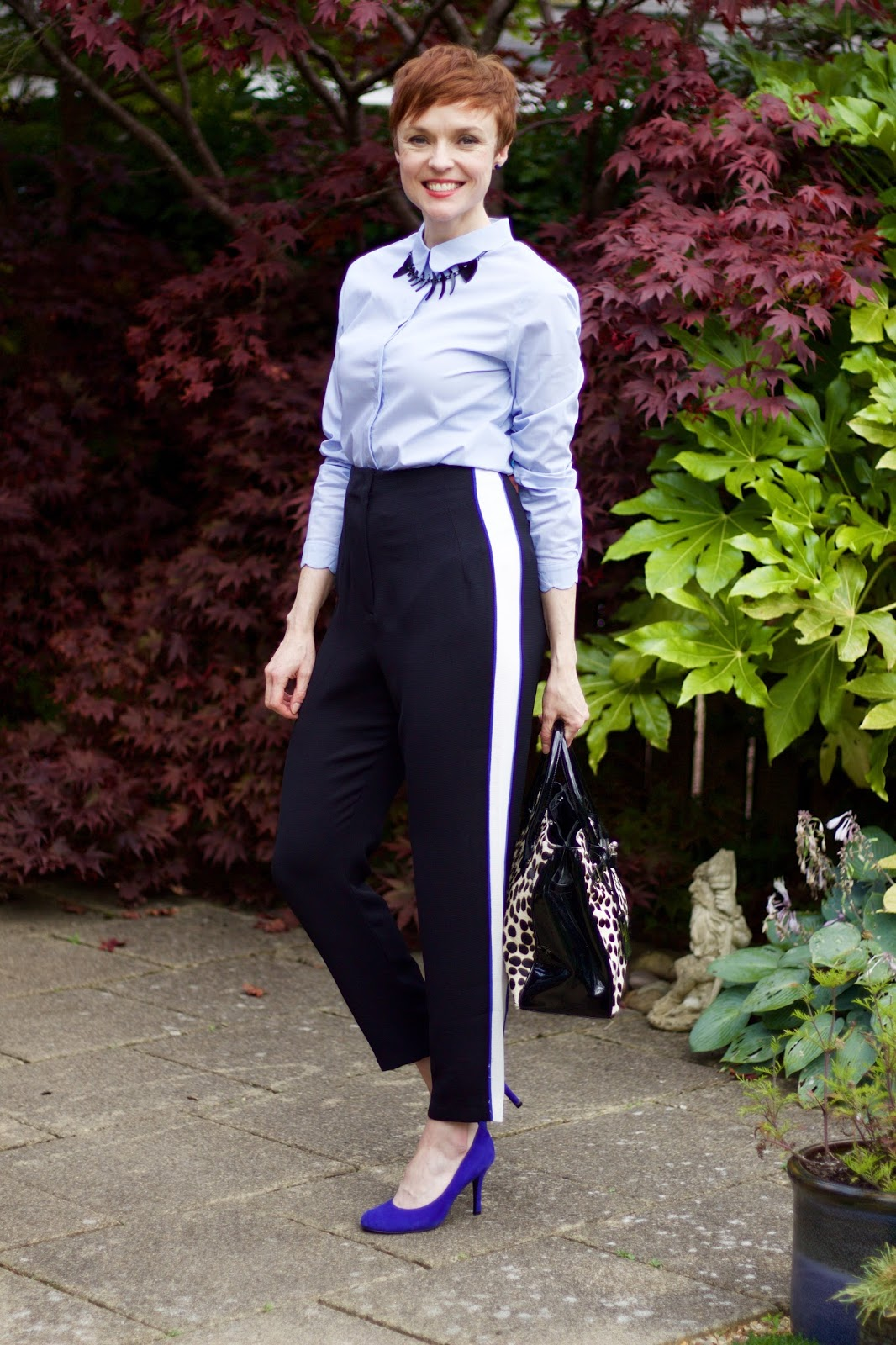 Side Stripe Trousers, Blue Shirt & Cobalt Heels | Fake Fabulous