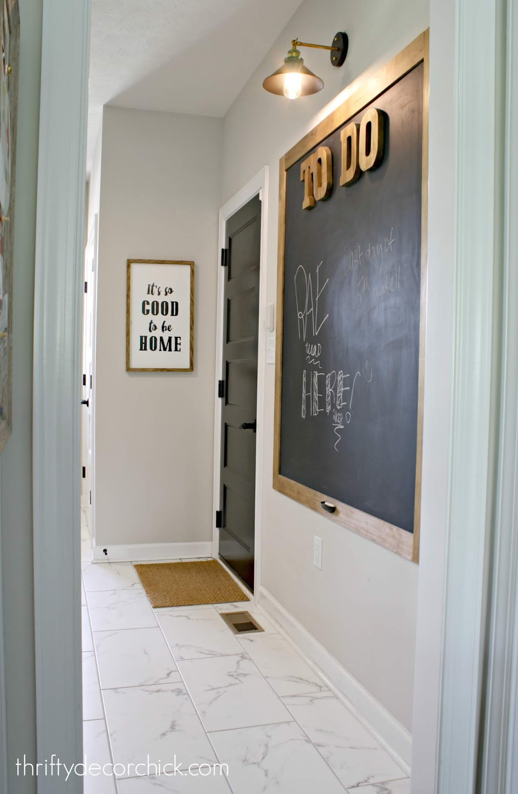 HUGE DIY chalkboard in mud room