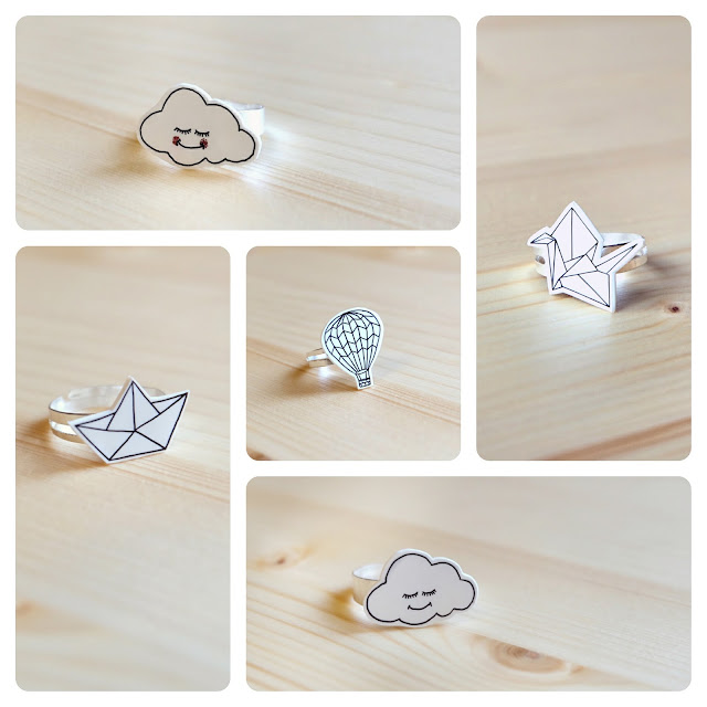 origami and personal jewellery. Handmade polyshrink adjustable rings