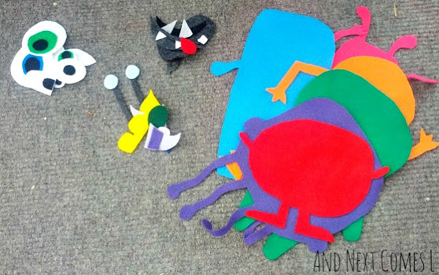 DIY felt monsters that you can mix and match on a felt board