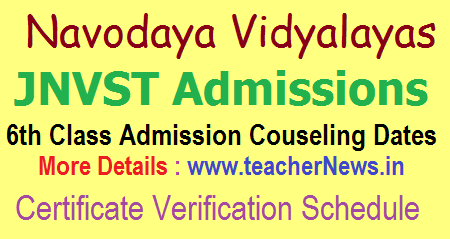 Navodaya 6th Class Admissions Counselling, Certificates Verification Dates School wise Centers