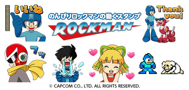 Capcom japan just rolled out a bevy of rockman stickers for popular messaging app line above you can see six of fifteen stickers available for users in