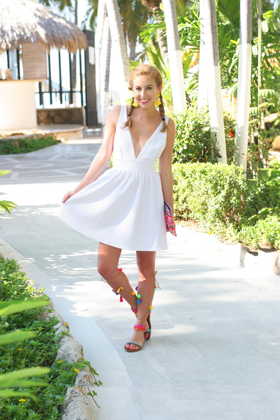 How-to-style-little-white-Lulus-dress-for-vacation-pom-pom-sandals