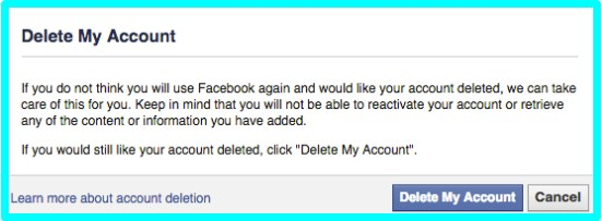 how to delete fb account