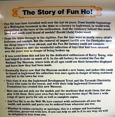 Sign explaining the story of Fun Ho! toys