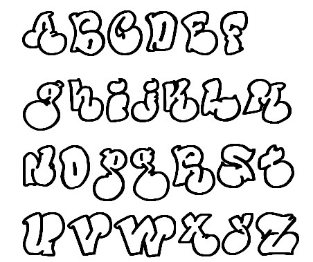 Graffiti style writing alphabet in cursive