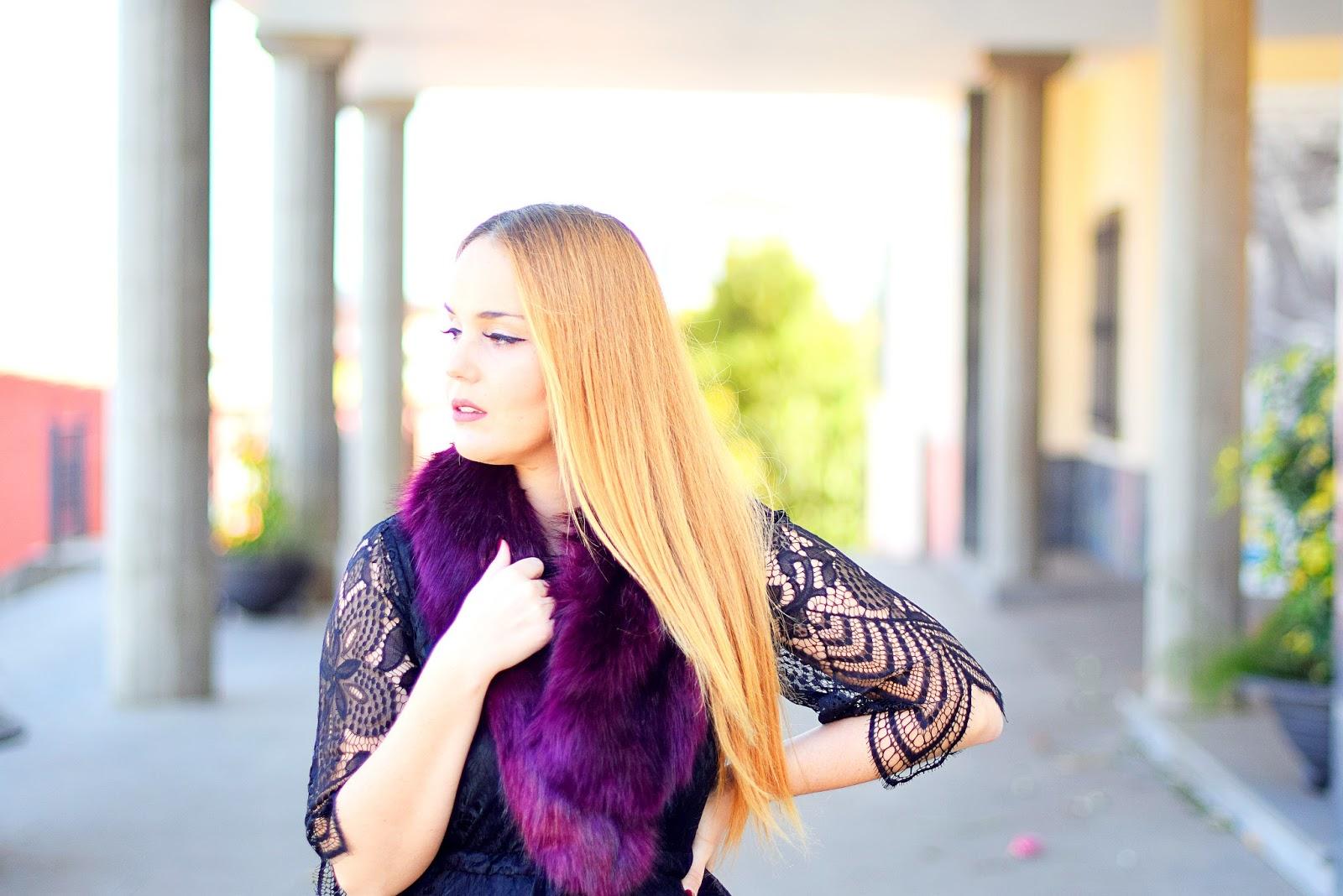nery hdez, el corte ingles, amiclubwear, vestido negro de encaje, look de fiesta, boa de pelo sintética