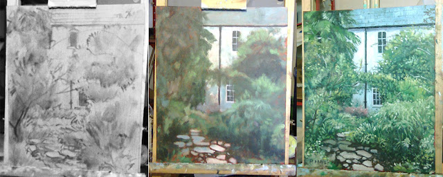oil painting in stages of jermyns House hampshire