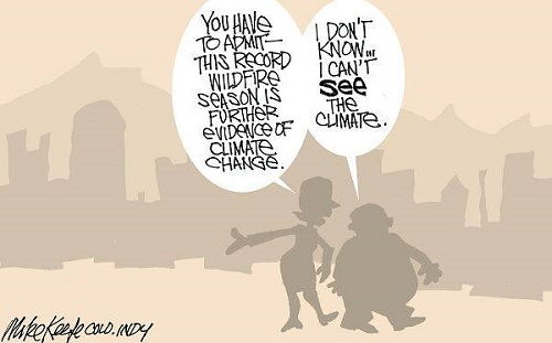 Toon of the Week - You Have to Admit This Record Wildfire Season Is Further Evidence of Climate Change. / I Don't Know.  I Can't See the Climate. (Credit: caglecartoons.com)