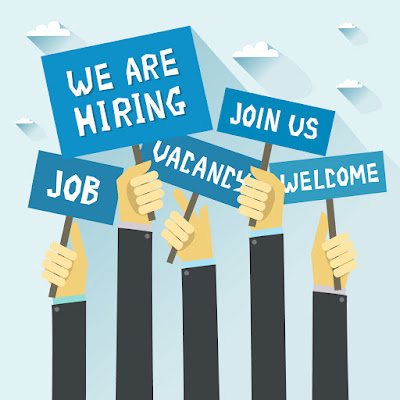 "Image of animated hands holding blue signs saying ""Job, we are hiring, vacancy, join us, welcome"""