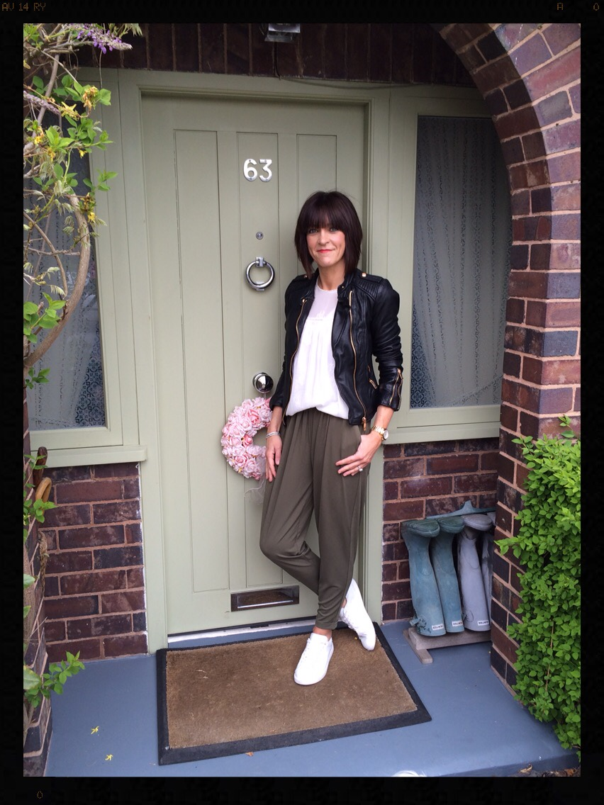 My Midlife Fashion, Zara, Mango, Warehouse, Crepe Joggers, Trainers, Biker Jacket