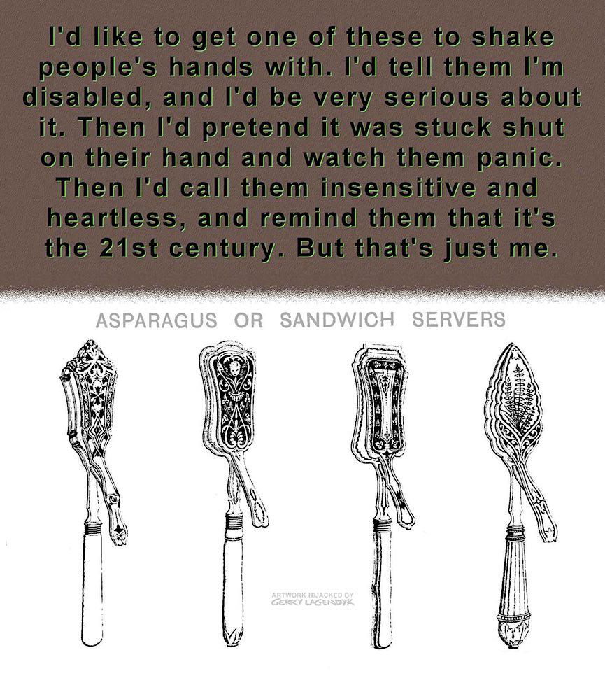 disability handshake, cartoon