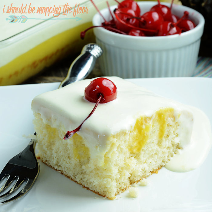 Dole Whip Poke Cake: all of the flavors of the legendary Disney treat into a delicious, moist, poke cake.