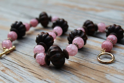 pink resin bead and wood bracelet toggle clasp brown and pink handmade jewelry