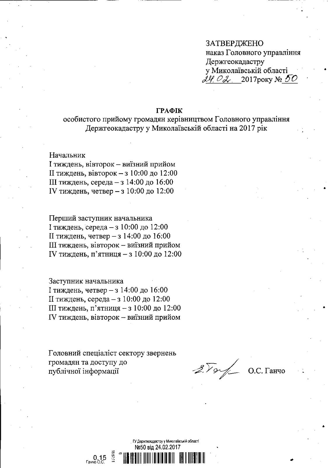 Графік особистого прийому громадян керівництвом Головного управління Держгеокадастру у Миколаївській області на 2017 рік