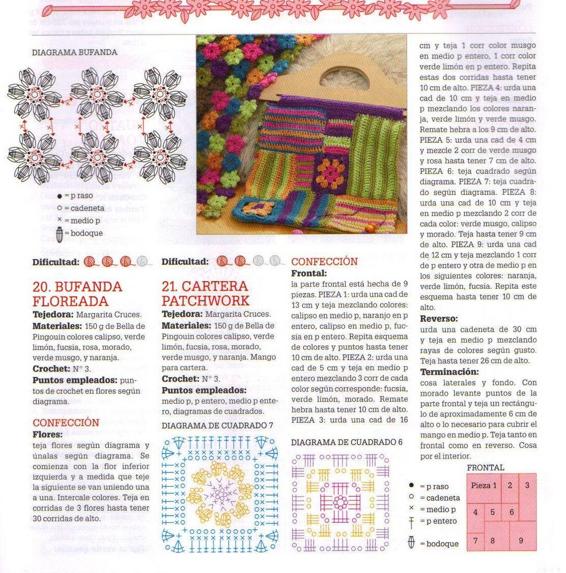Vistoso Crochet Patrón De Flor Bufanda Viñeta - Ideas de Patrón de ...