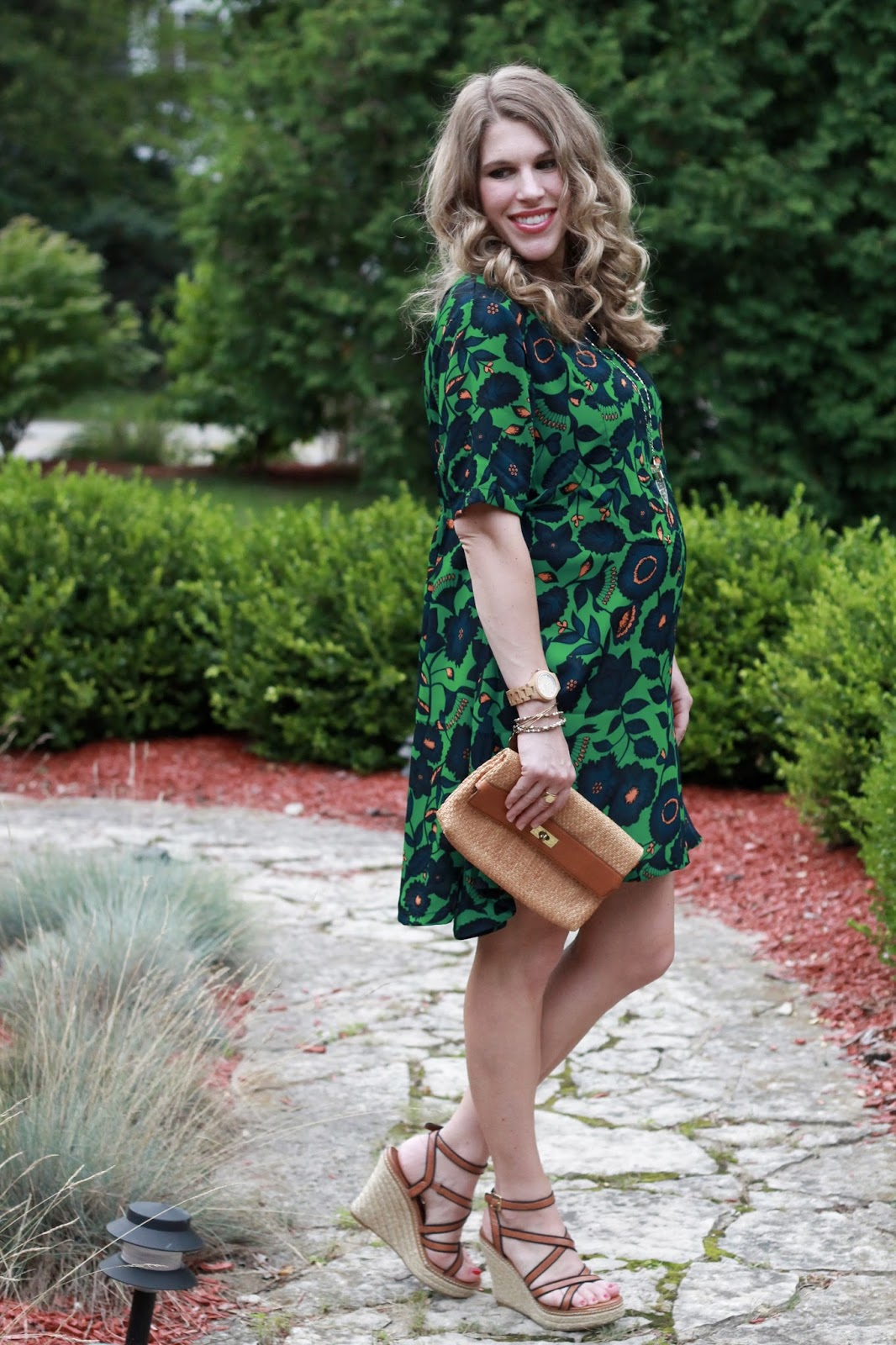 SheIn green floral dress, wedges, straw clutch, second trimester summer maternity outfit