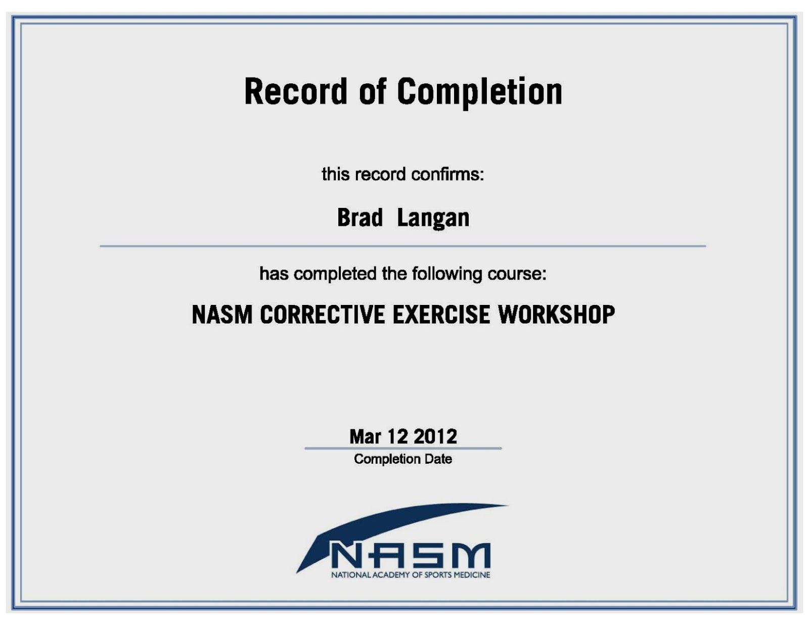 Awesome stock of nasm certification business cards and resume examples of best certificate xflitez Gallery
