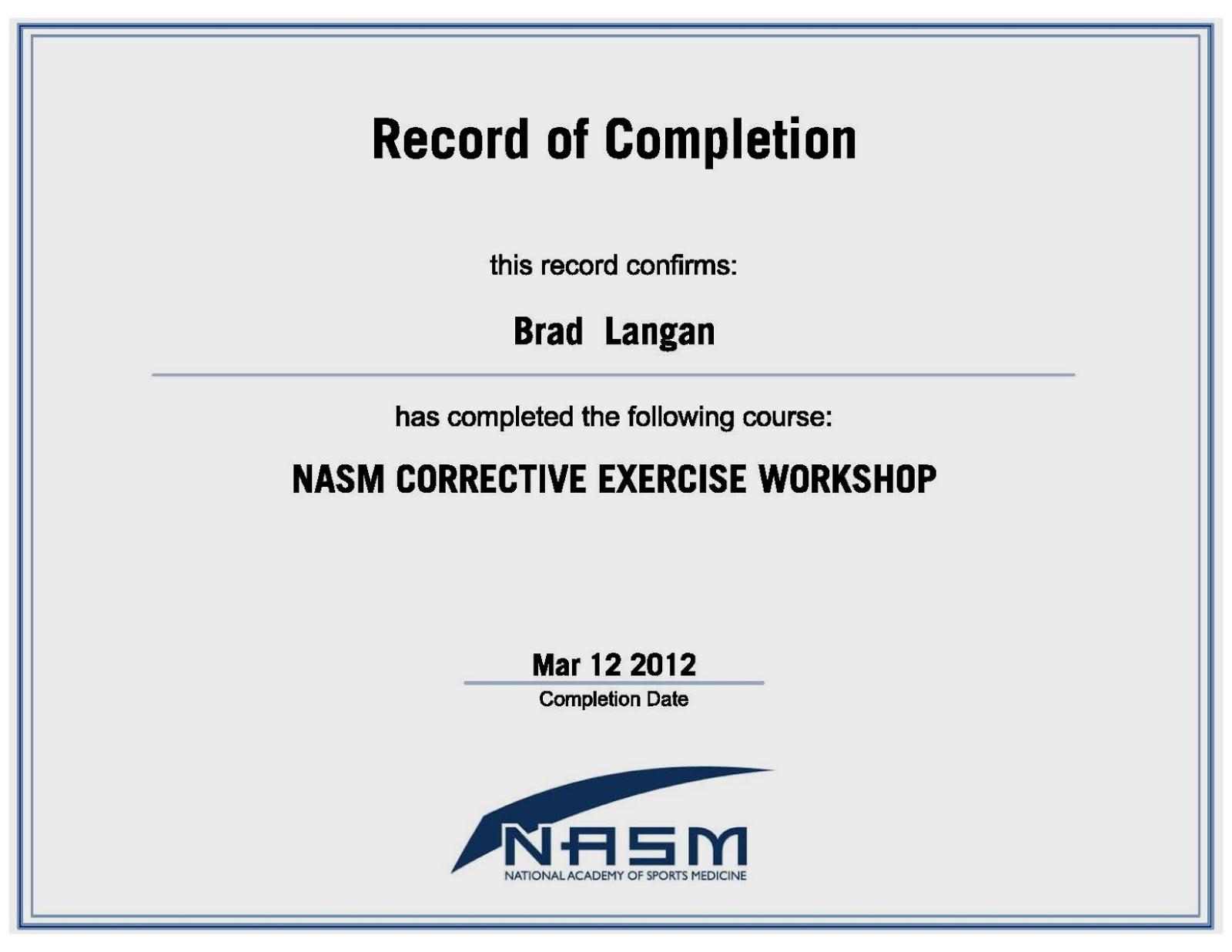 Examples of best certificate nasm certification tr71 xflitez Images