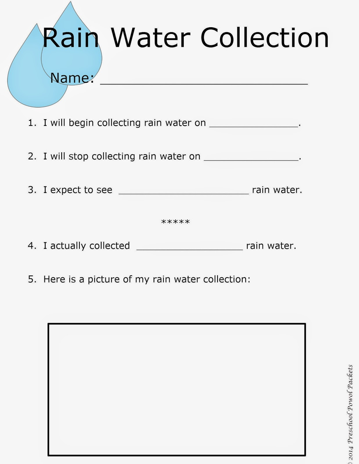 Rain Water Collection Preschool Earth Day Science