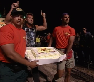 WCW HOG WILD 1996: The Booty Man brought a birthday cake for Hulk Hogan