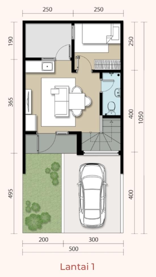 Denah rumah minimalis ukuran 5x10 meter 3 kamar tidur 2 lantai
