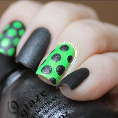 China Glaze Grey and Green Dots