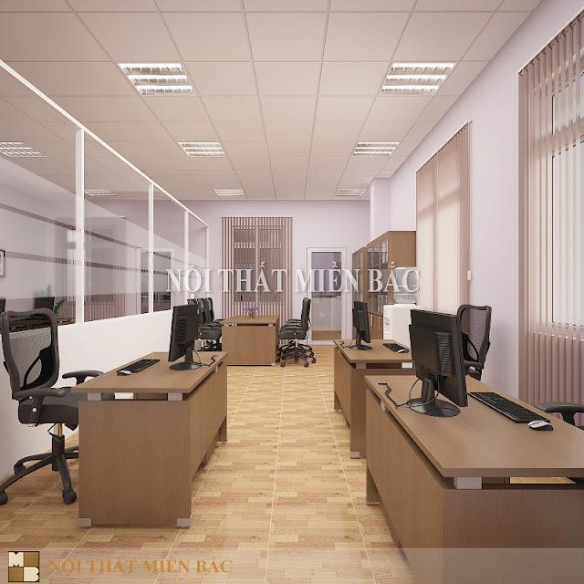Mẫu bàn làm việc văn phòng veneer với tông màu nâu trầm ấm tự nhiên càng đảm bảo cho không gian nét cuốn hút và hiện đại