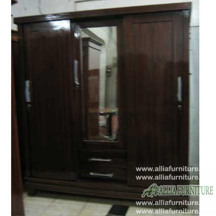 lemari minimalis jati 3 pintu kaca