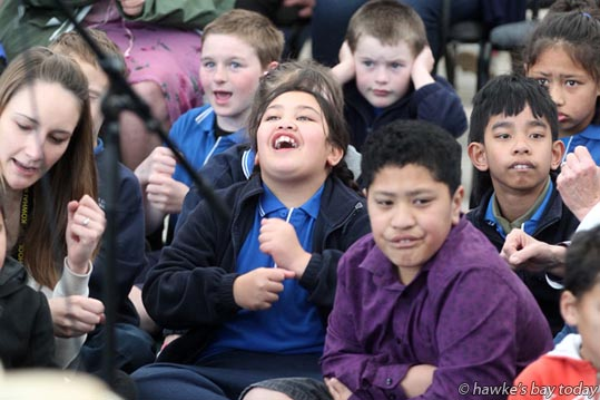 Front centre, L-R: Paris Waaka, Tinei Fui, from the Kowhai School satellite at Central School Hastings - Jeremy Fitzsimons and Yoshiko Tsuruta, a marimba and percussion duo performed with Julian Raphael, a community musician, to an audience of Fairhaven School, Kowhai Schools and Hohepa Hawke's Bay, at the Hawke's Bay Opera House Plaza, Hastings. photograph