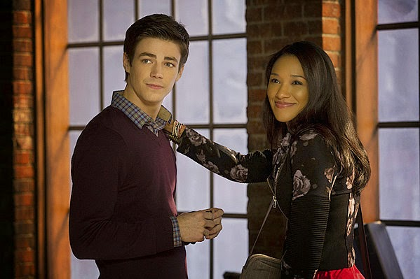Grant Gustin and Candice Patton as Barry Allen and Iris West in CW The Flash Season 1 Pilot Episode 1 City of Heroes