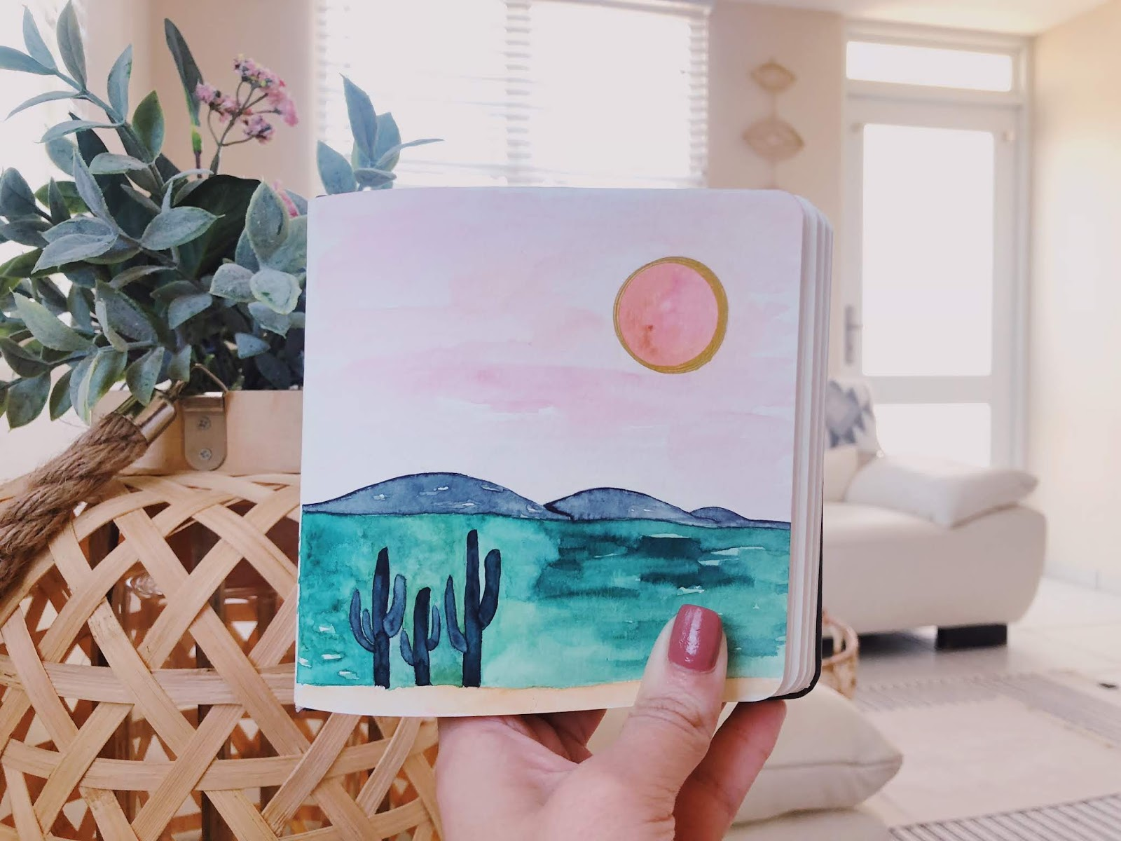 Watercolor Cacti & Pink Desert by www.theartsyboho.com
