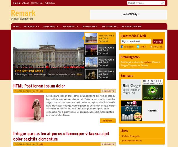 remark blogger template