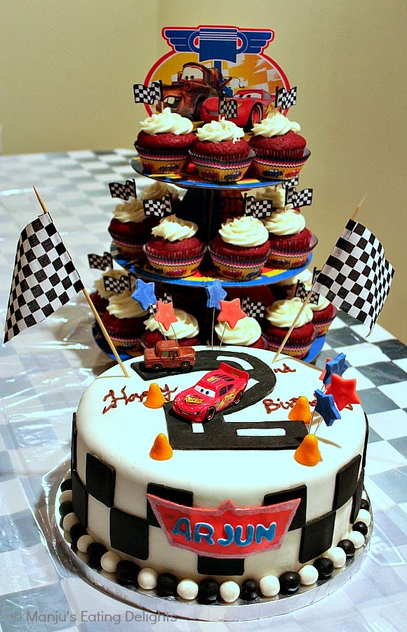 Cars Themed Birthday Cake And Cupcakes