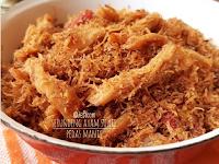 Resep dan cara membuat Serundeng Ayam Suwir Pedas Manis